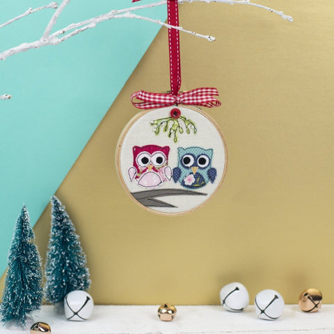 Christmas Owls Embroidery Hoop Bauble