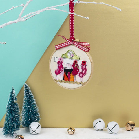 Christmas Stocking Embroidery Hoop Bauble