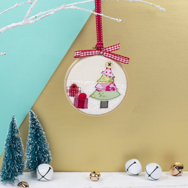 Rachel & George Christmas Decoration Christmas Tree Embroidery Hoop Bauble
