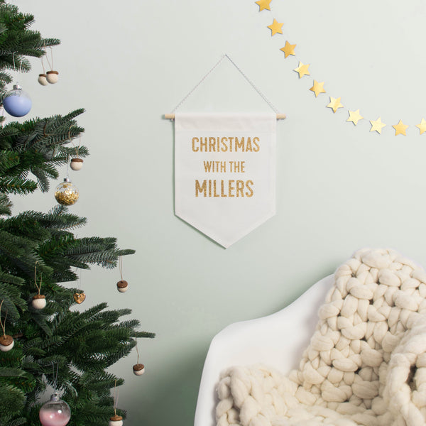 Rachel & George Christmas Decoration Personalised Christmas Family Banner Sign
