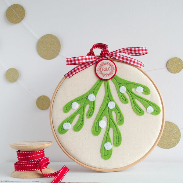 Rachel & George Christmas Decoration Personalised Mistletoe Embroidery Hoop