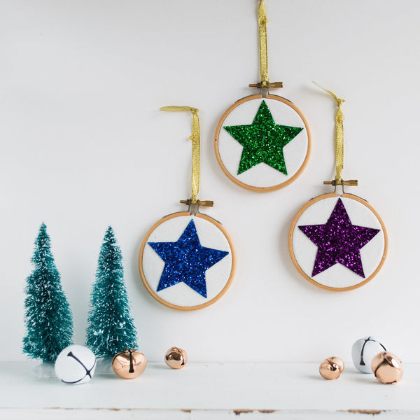 Rachel & George Christmas Decoration Set of Three Star Christmas Bauble Decorations - Blue/Purple/Green