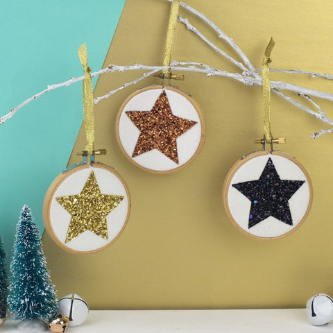 Set of Three Star Christmas Bauble Decorations - Copper/Gold/Black