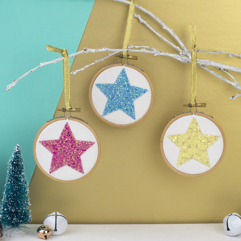 Set of Three Star Christmas Bauble Decorations - Pastels