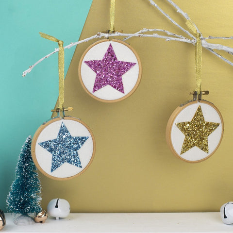 Set of Three Star Christmas Bauble Decorations - Pink/Gold/Blue