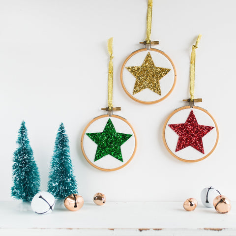 Set of Three Star Christmas Bauble Decorations - Red/Gold/Green