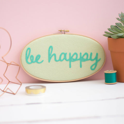 Be Happy Felt Embroidery Hoop Art