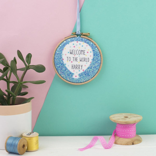 Rachel & George Embroidery hoop artwork Blue / no thanks Personalised Welcome to the World New Baby Embroidery Hoop Sign