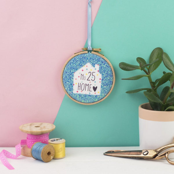 Rachel & George Embroidery hoop artwork blue Personalised House Number Embroidery Hoop