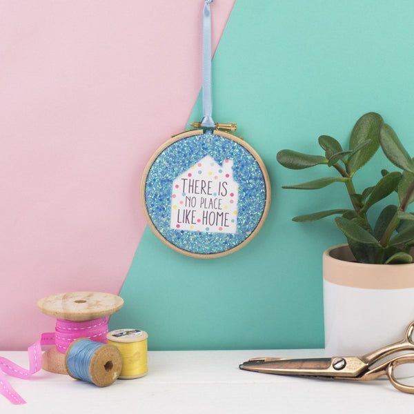 Rachel & George Embroidery hoop artwork blue There is no place like home embroidery hoop