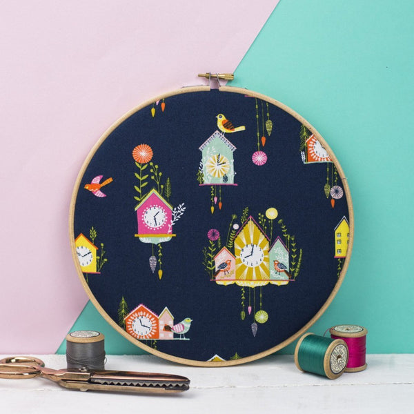 Rachel & George Embroidery hoop artwork Cuckoo Clock Print Embroidery Hoop Art