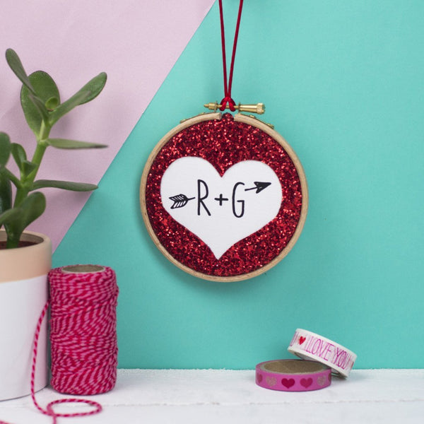 Rachel & George Embroidery hoop artwork Glitter Heart Personalised Embroidery Hoop