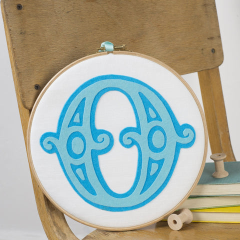 Handmade Circus Letter Embroidery Hoop