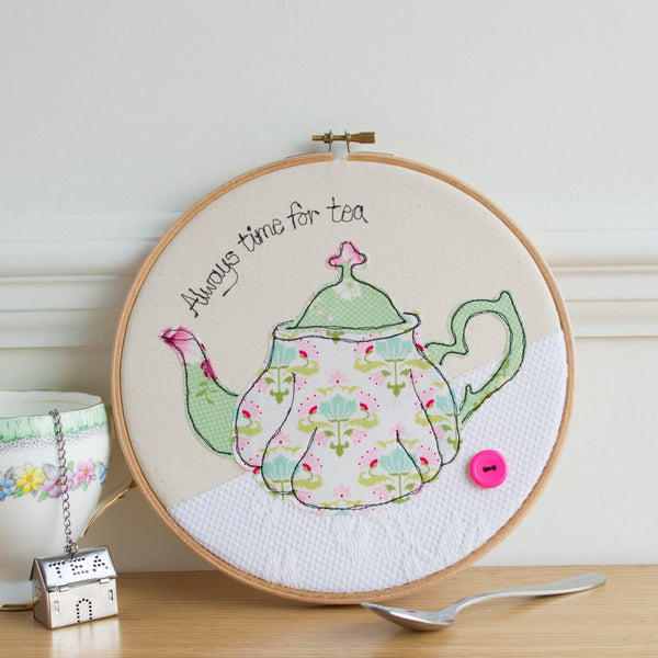 Rachel & George Embroidery hoop artwork Handmade Teapot Embroidery Hoop