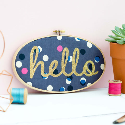 Hello Embroidery Hoop Art