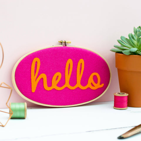 Hello Felt Embroidery Hoop Art