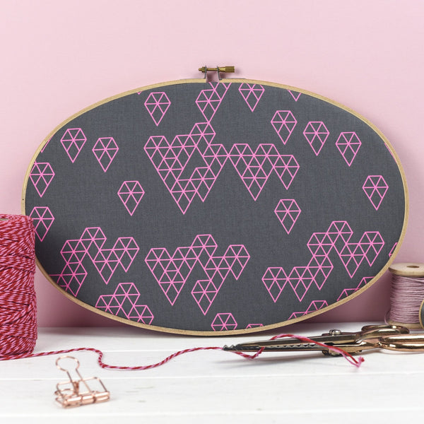 Rachel & George Embroidery hoop artwork Pink Geometric Print Embroidery Hoop Wall Art