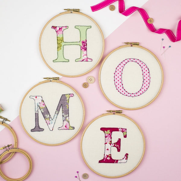 Rachel & George Embroidery hoop artwork Set of Four 'Home' Embroidery Hoops