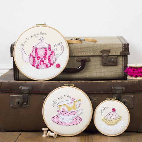 Set of Three Teatime Embroidery Hoops