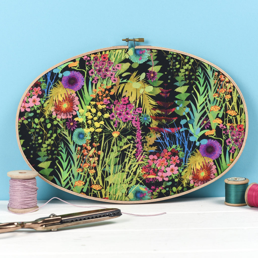 Rachel & George Embroidery hoop artwork Tropical Liberty Print Embroidery Hoop Wall Art