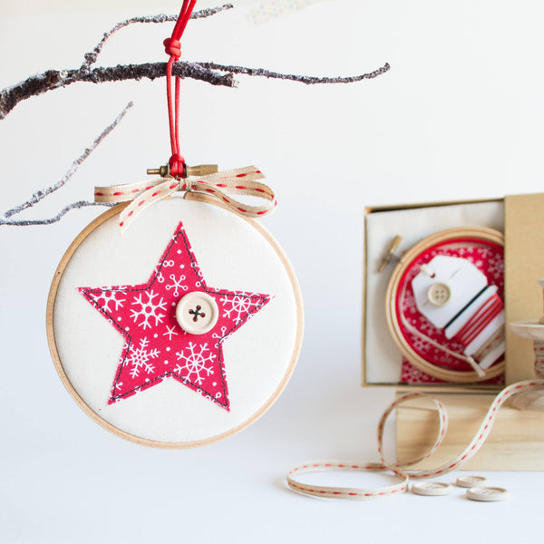 Rachel & George Embroidery Hoop kit Embroidery Hoop Christmas Bauble Hoop Kit