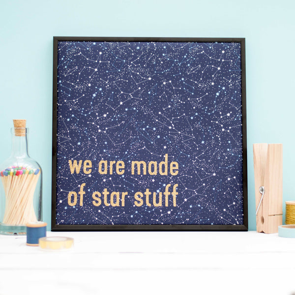 Rachel & George Framed Embroidery Constellation 'Star Stuff' Framed Textile Artwork