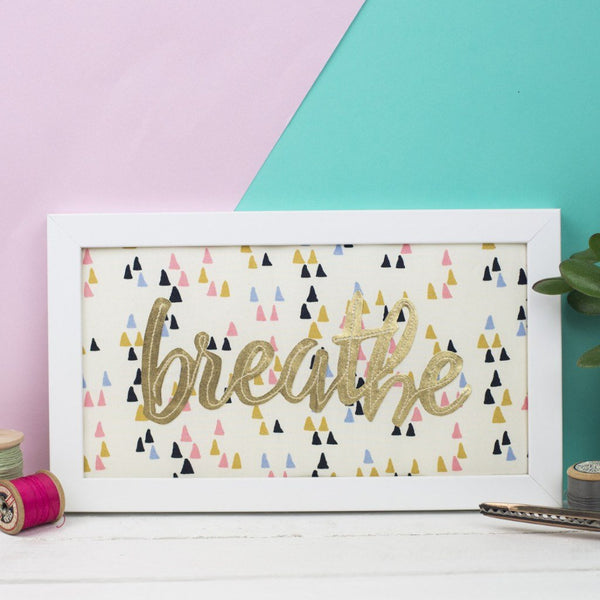 Rachel & George Framed Embroidery cream with pink/blue triangles / Gold My Word of the Year Framed Cream