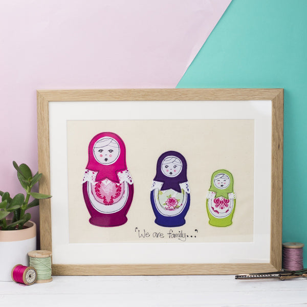 Rachel & George Framed Embroidery Framed Set of Three Russian Dolls