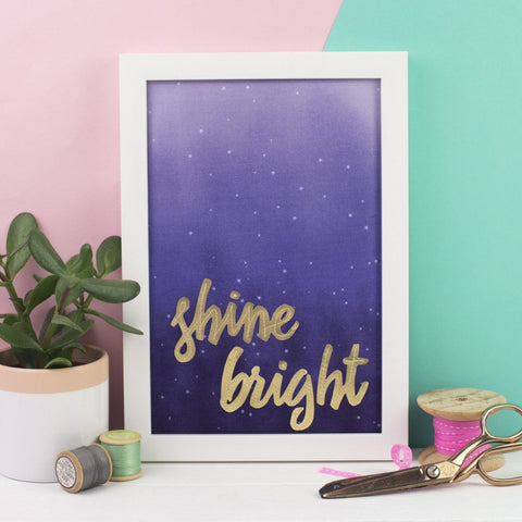 'Shine Bright' Framed Embroidery Artwork