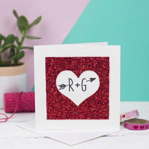 Glitter Heart Personalised Card