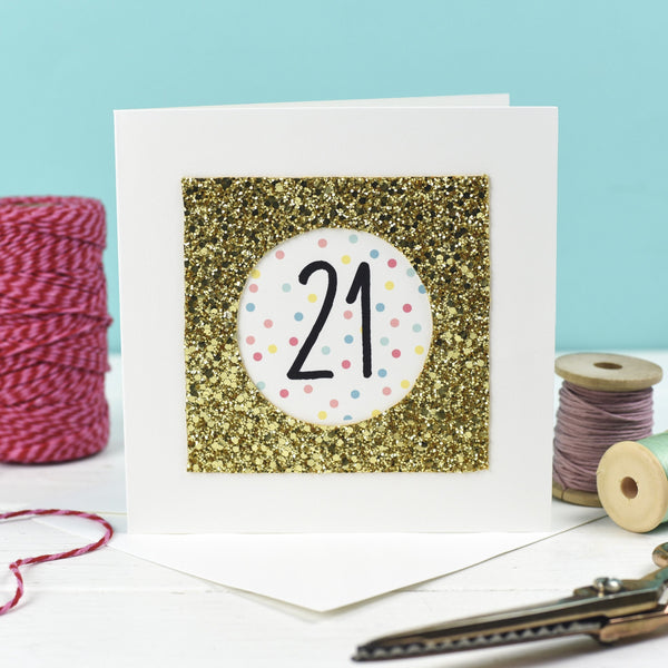 Rachel & George Greetings Card Gold Glitter 21st Birthday Card