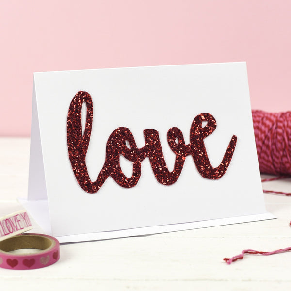 Rachel & George Greetings Card Love Glitter Valentine's Day Card