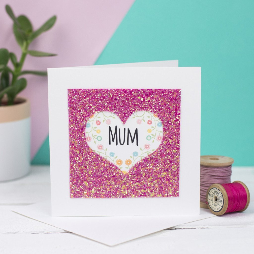 Rachel & George Greetings Card Mum Glitter Heart Card