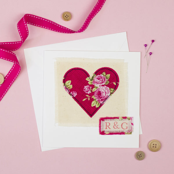Rachel & George Greetings Card Personalised Embroidered Heart Card
