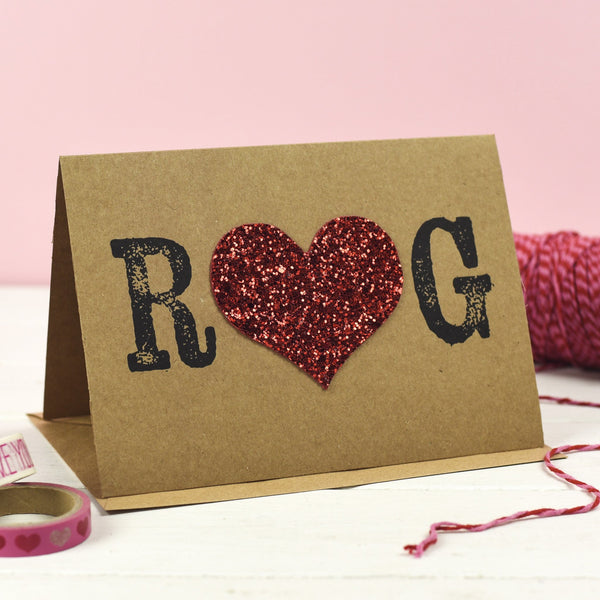 Rachel & George Greetings Card Personalised Initial Valentines Card