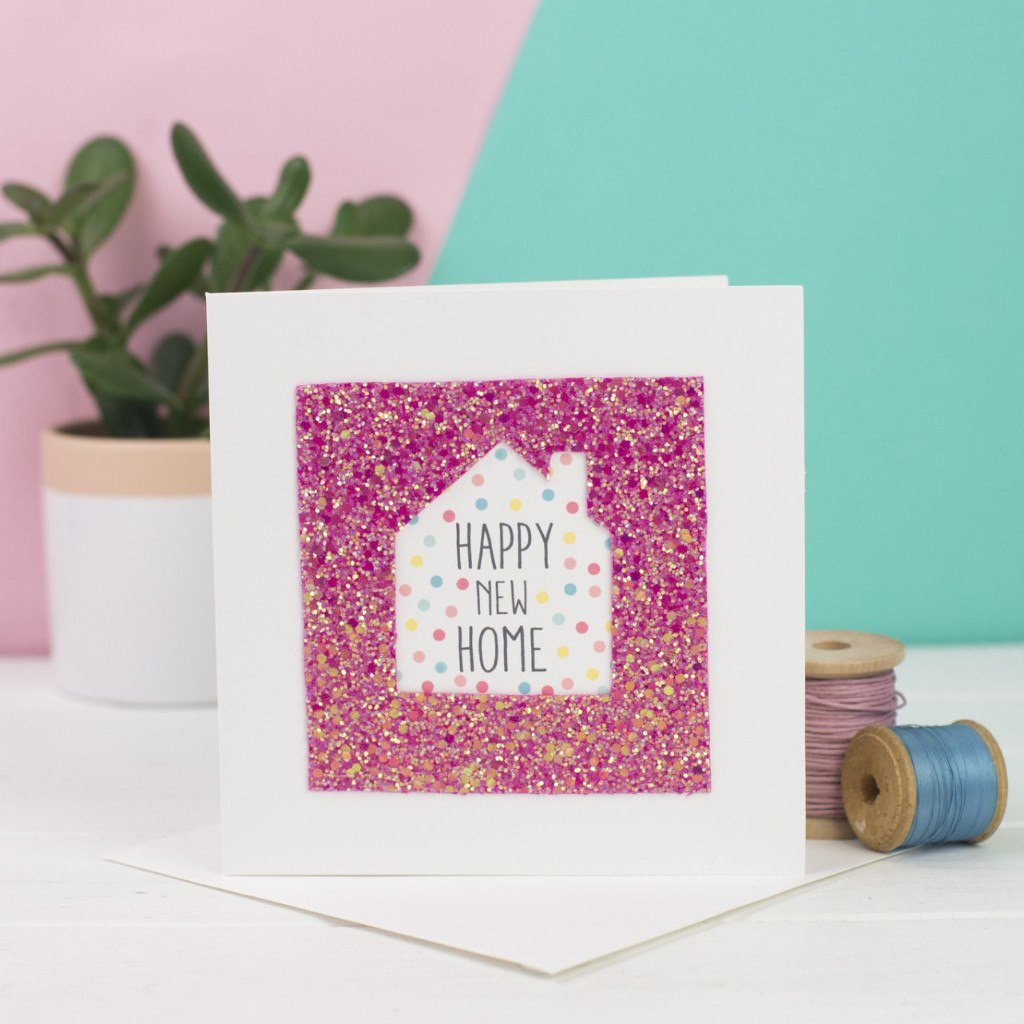 Rachel & George Greetings Card pink Happy New Home Glitter Card