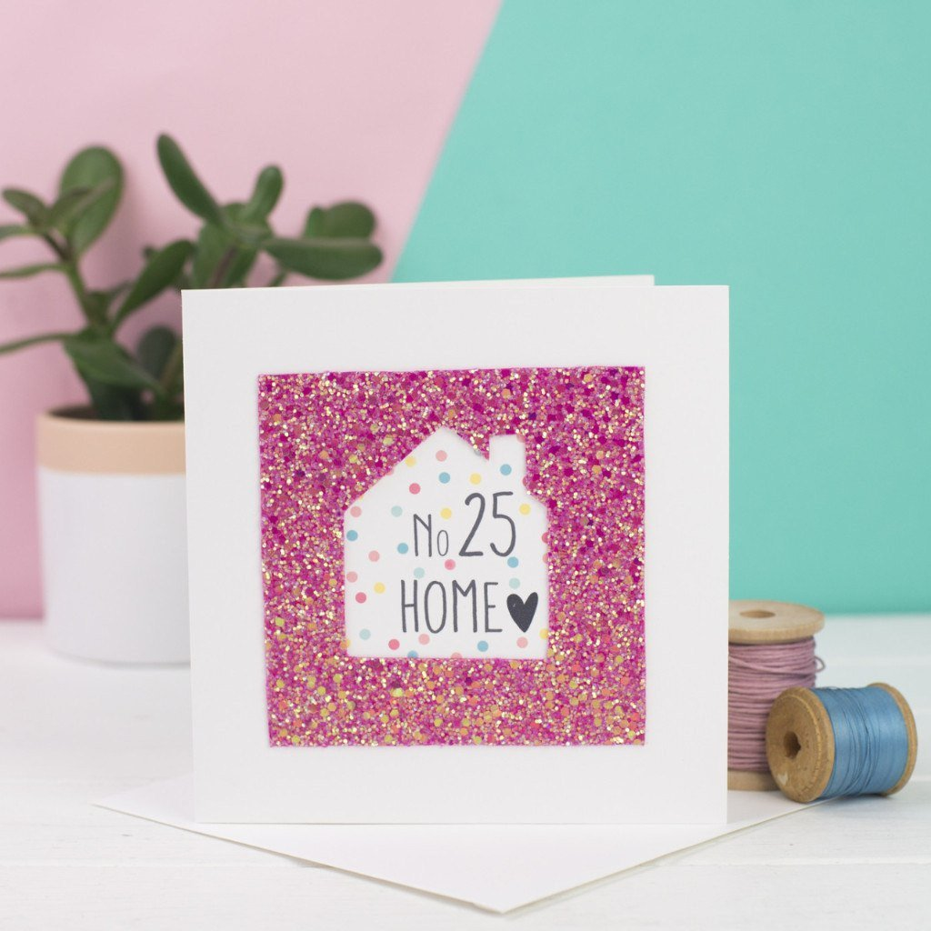 House number personalised new home glitter card rachel george rachel george greetings card pink house number personalised new home glitter card m4hsunfo