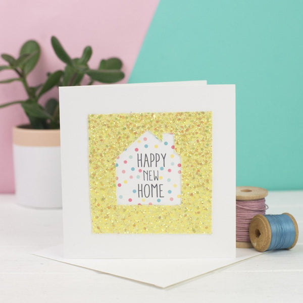 Rachel & George Greetings Card yellow Happy New Home Glitter Card