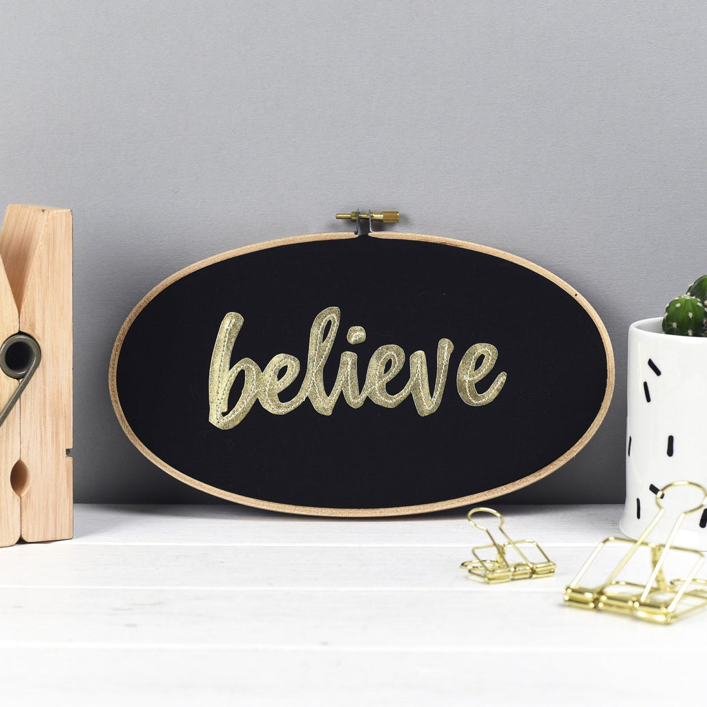 Rachel & George Oval Hoop 'Believe' Embroidery Hoop Artwork