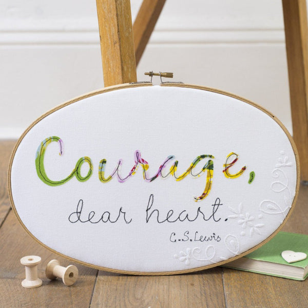 Rachel & George Oval Hoop 'Courage dear heart' Oval Embroidery Hoop Artwork