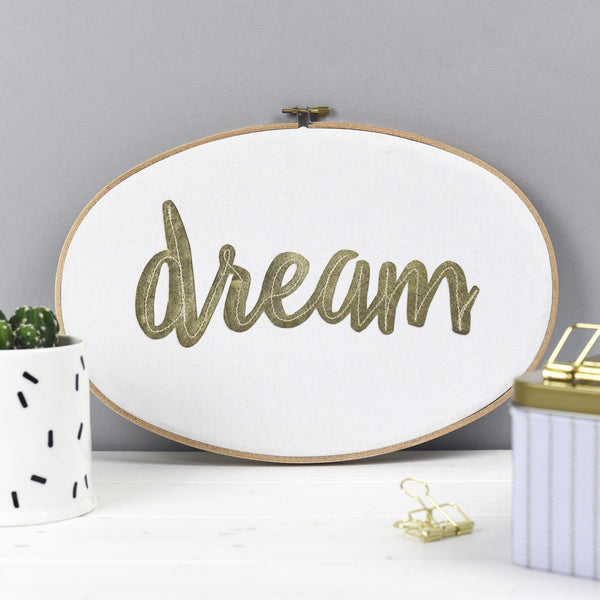 Rachel & George Oval Hoop 'Dream' Large Embroidery Hoop Artwork