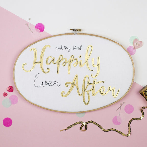 Rachel & George Oval Hoop 'Happily Ever After' Oval Embroidery Hoop Artwork
