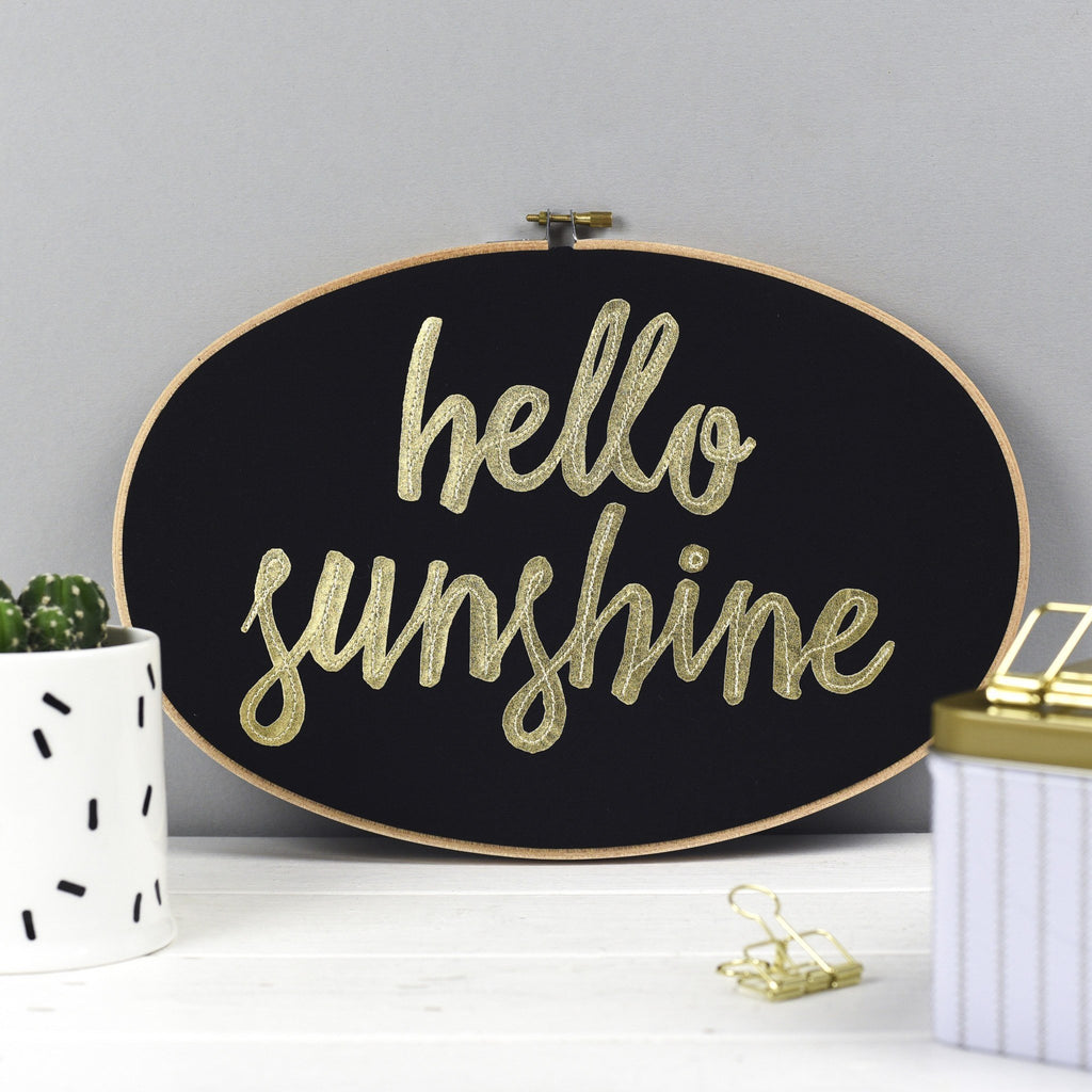 Rachel & George Oval Hoop 'Hello Sunshine' Large Embroidery Hoop Artwork