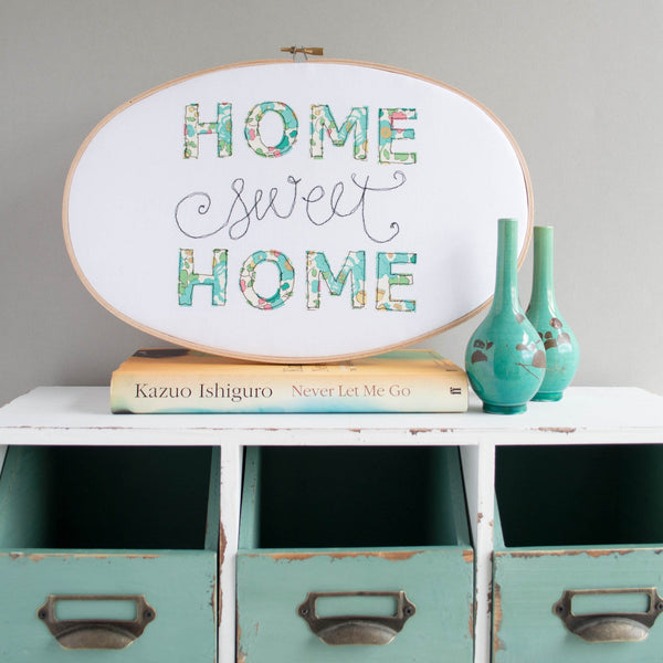 Rachel & George Oval Hoop 'Home Sweet Home' Oval Embroidery Hoop Artwork