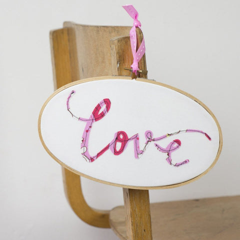 Love Oval Embroidery Hoop Artwork