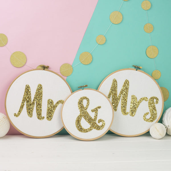 Rachel & George Oval Hoop Mr & Mrs Wedding Sign Embroidery Hoops