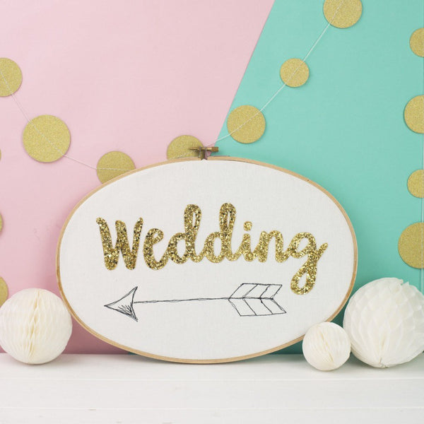 Rachel & George Oval Hoop Wedding Sign Embroidery Hoop