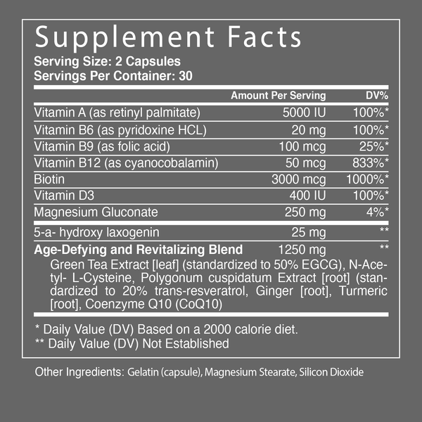 Glimmer | Celestial Bodiez | Supplement Facts Panel