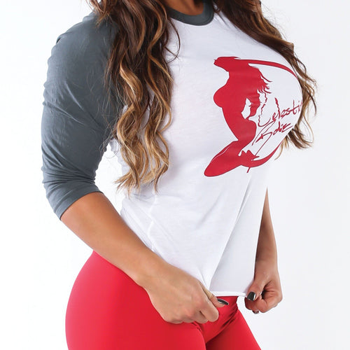 White/Grey Unisex Baseball Tee w/ Red Logo