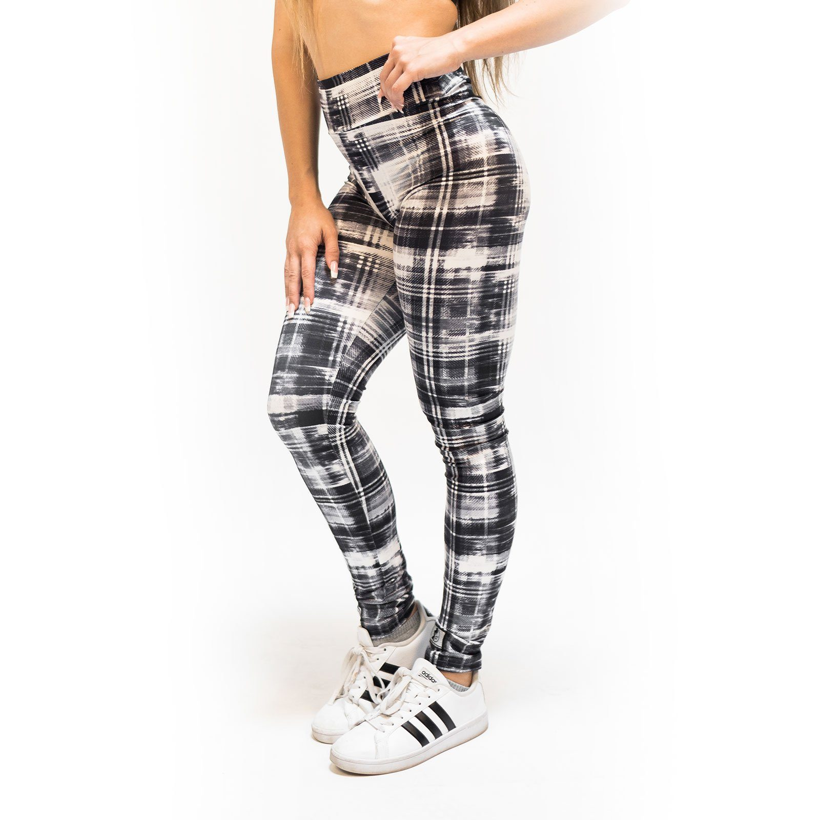 High Waist Distressed Plaid Leggings